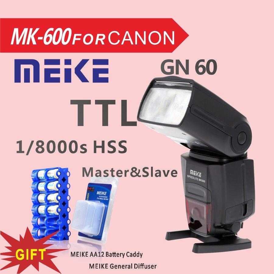 MEKE MK600 1/8000 s синхронизации ttl Speedlight Камера вспышки для Canon 1300D 70D 6D 5DII 5diii 7D 60D 550D 600D 650D 800D + Диффузор/caddy