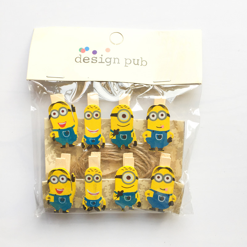 1 Pack Kawaii Minions Wooden Paper Clip Decorative Bookmark For Album With Rope Message Stickers Stationery