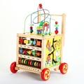 Multi-función de manos empujar bebé juguetes educativos de madera del bebé del caminante ayuda paso kit de grano redondo