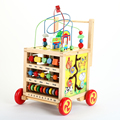 Multi-function baby wooden hands push baby educational toys the walkers help step round bead kit