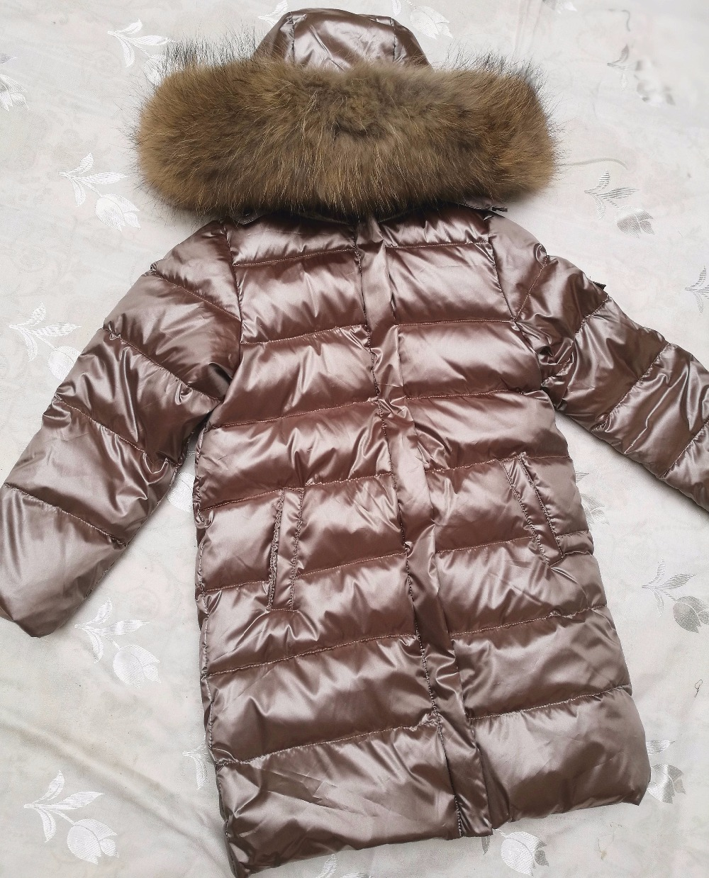 Winter Jacket Baby Girl Parkas Coat Fur Hood Winter Down Jackets Kids Hooded Down Coats Thick Children's Warm Real Fur Collar