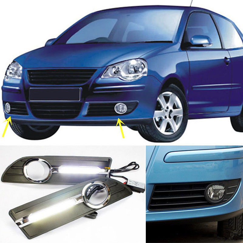 Waterproof 12V LED Car DRL Fog Lamp Daytime Running Lights For Volkswagen VW Polo 2005 2006 2007 2008 2009 2010 цена