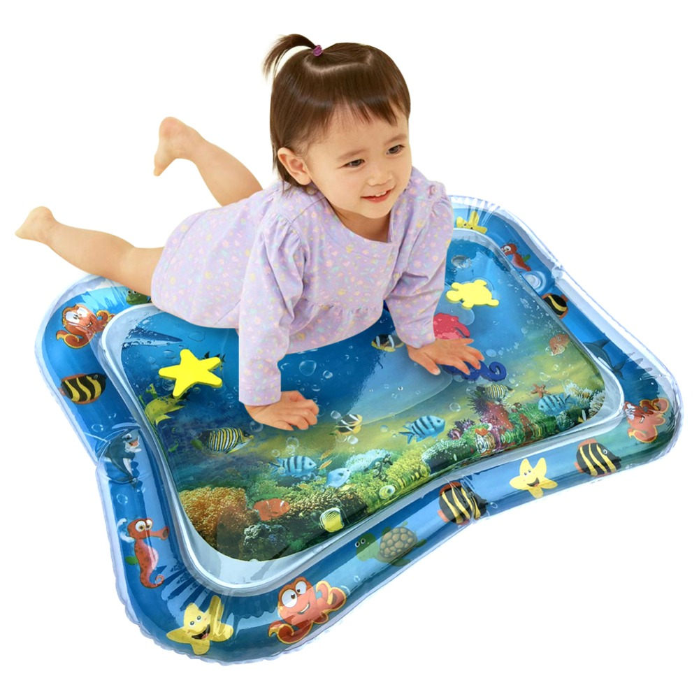 HTB1He49X1H2gK0jSZJnq6yT1FXaS Hot! 18 Designs Baby Kids Water Play Mat Inflatable Infant Tummy Time Playmat Toddler for Baby Fun Activity Play Center Dropship