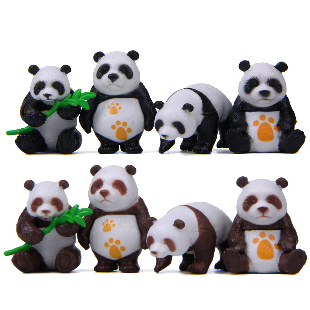 Figures Toy Model-Doll Cartoon-Toys Panda-Action Christmas-Gift Kids 4pcs/Lot Home-Decor
