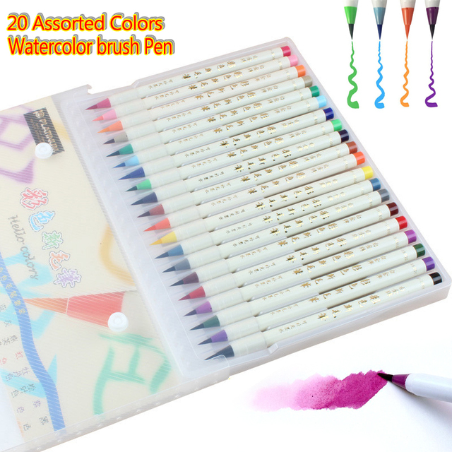 20 Warna Lembut Fleksibel Tip Copic Spidol Cat Air Brush Pen Premium