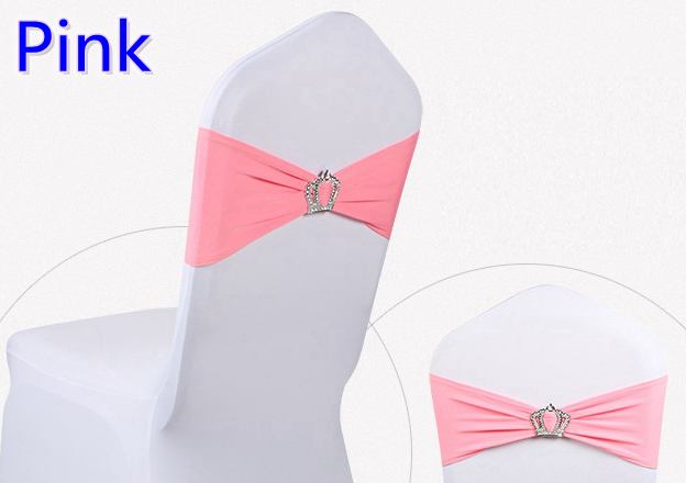 Pink colour Crown buckles lycra sash for wedding chairs decoration spandex band stretch bow tie lycra ribbon belt on sale