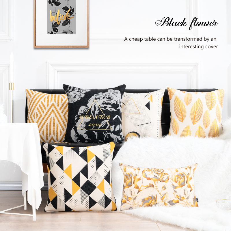 Geometric Cushion Cover Black Gold Vintage Floral Throw Pillowcase Pillow Cover for Sofa Couch Lumbar Cushion Home Decor 45x45cm