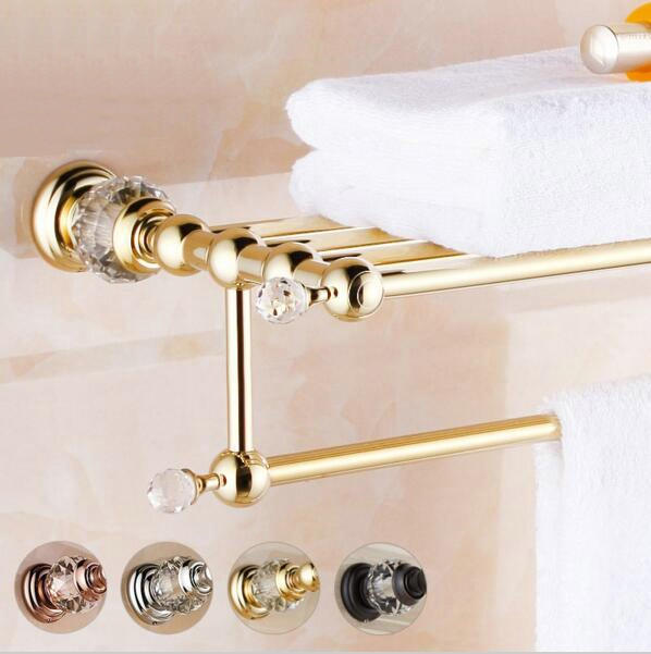 Br Crystal Anium Gold Plating Towel Rack Shelf With Bar Holder Bathroom Accessories Free Shipping Lb8311 In Racks From Home