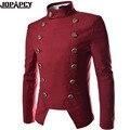 HOT hombres de la marca de moda de doble botonadura abrigo traje casual delgado fit chaqueta blazer rojo sólido Soporte taklm elbise cekek erkek MXH0017