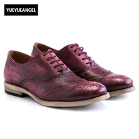 Brand Retro Men Genuine Leather Cow Autumn Oxfords Lace Up Casual Shoes Brogue Shoes Wing Tip