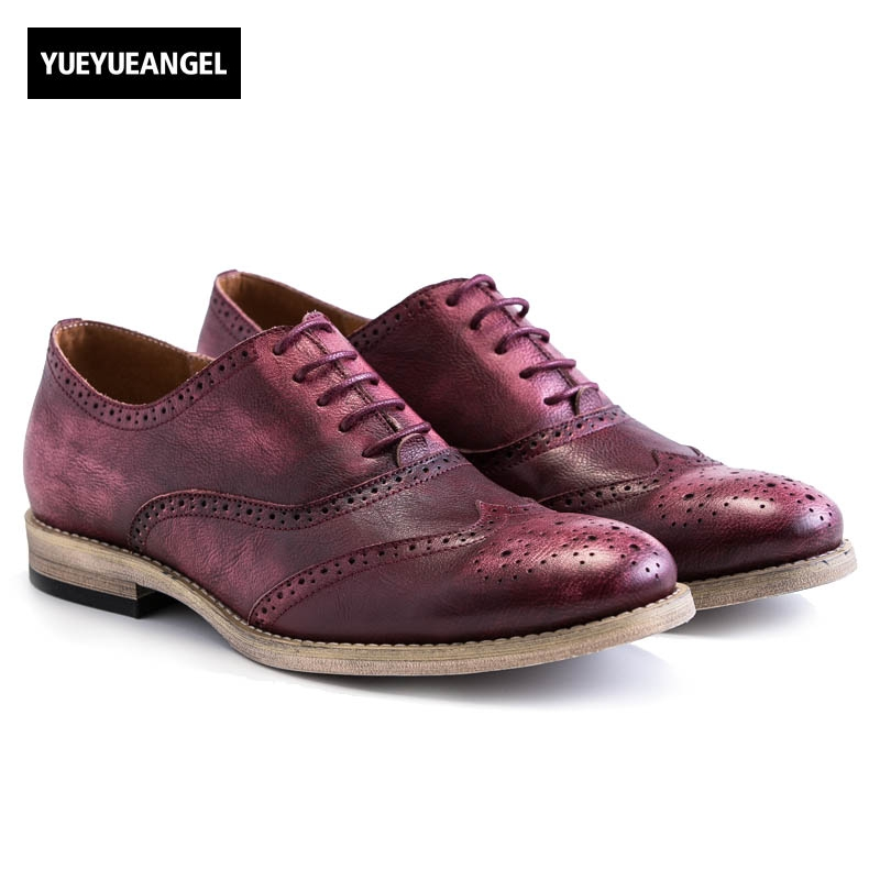 Retro Men Genuine Leather Cow Autumn New Fashion Lace Up Casual Shoes Brogue Shoes Wing Tip Male Multi Color Black Wine Red 2017 england style men genuine leather cow new fashion lace up breathable casual shoes male vintage match color black coffee