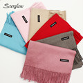 Spring new cashmere scarves for women shawl 2017 European classic solid color Female scarf with tassels ponchos und capes B106