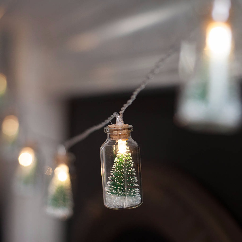 Christmas Tree Glass Jar Bottle String Lights with 20 LED Battery operated for Wedding Party ...