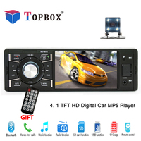Topbox Car Radio 1 Din Stereo Player Bluetooth AUX FM MP3 Radio Station 12V Car Audio Auto Support Rearview Camera With Control