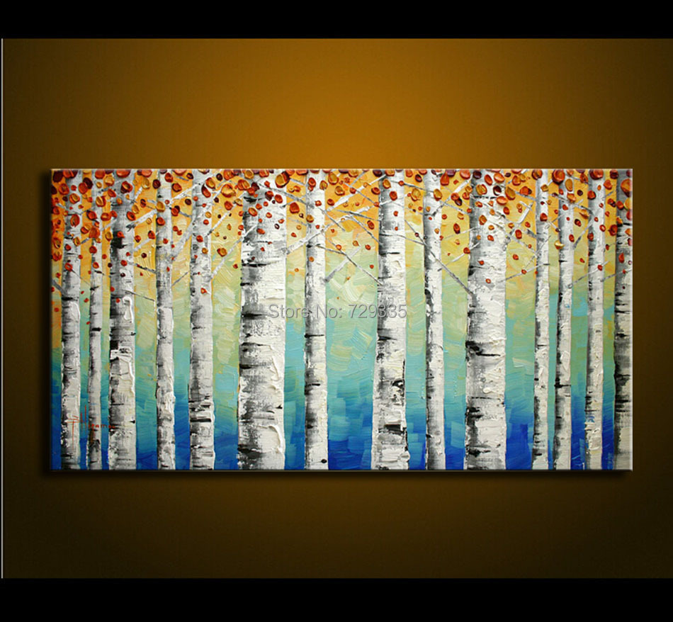 Hand Painted Birch Tree Wall Art Bedroom Living Room Decor Abstract 3D Palette Knife Oil Painting Canvas Artwork Home DecorHand Painted Birch Tree Wall Art Bedroom Living Room Decor Abstract 3D Palette Knife Oil Painting Canvas Artwork Home Decor