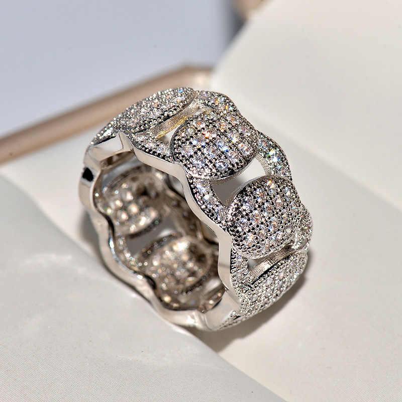 ผู้ชายผู้หญิงคริสตัล Zircon แหวนหินคุณภาพสูง Silver Gold เครื่องประดับงานแต่งงานสัญญารักหมั้นแหวน