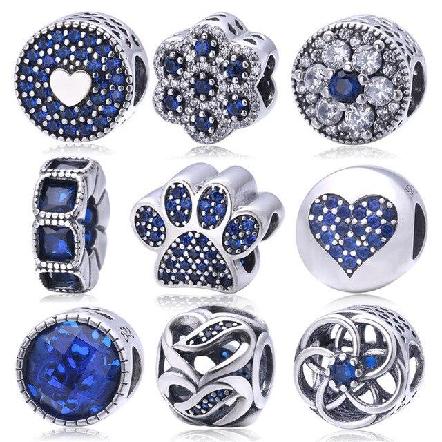 Soild 925 Sterling Silver Blue Crystal Charm Beads Fit Pandora Charms  Bracelets Fashion Original Jewelry For Women berloque 60893bda48b7