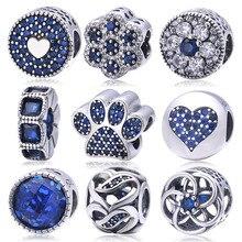 Soild 925 Sterling Silver Blue Crystal Charm Beads Fit Pandora Charms Bracelets Fashion Original Jewelry For Women berloque