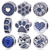 Soild 925 Sterling Silver Blue Crystal Charm Beads Fit Pandora Charms Bracelets Fashion Original Jewelry For