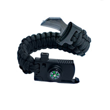 Outdoor Survival Armband för män Kvinnor Flätade Paracord Camping Vandring Räddning Emergency Rope Bangles Kompass Whistle Knife