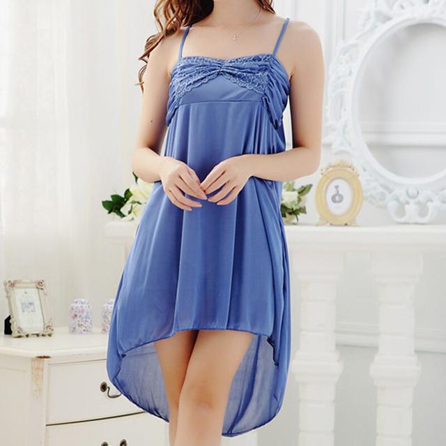 Verão Sexy Sleepwear rendas Sexy alcinhas camisola moda azul salão
