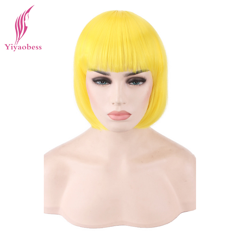 Yiyaobess Synthetic Short Straight Yellow Pink Green Blue White Red Blonde Gray Brown Black Bob Wig With Bangs Cosplay Female
