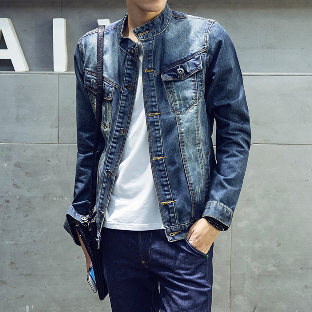 Slim Fit Denim Jacket Men High Quality Fashion Jeans Jackets Solid ...