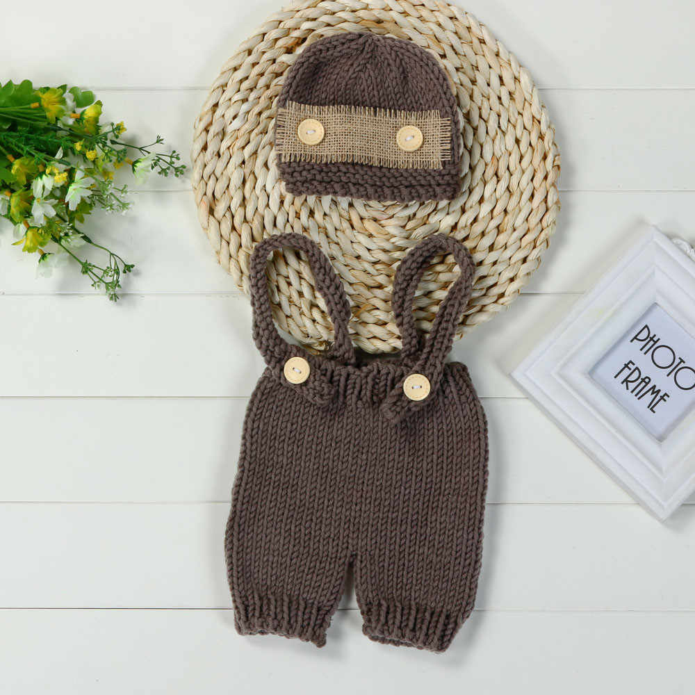 Lovely Newborn Baby infant Girls cute Boys Crochet Knit Costume Photo Photography Prop Pant with Hat Outfit clothes 0-4M Baby@35