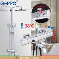 GAPPO краны душа ванной набор для душа настенный термостатический Ванна Душ водопад насадки для душа хром Смеситель Водопроводной воды
