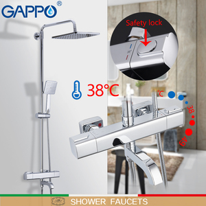 Image 3 - GAPPO Shower Faucets Thermostatic Bathroom Shower Set Thermostatic Bath Shower Waterfall Shower Heads Chrome Mixer Water Tap