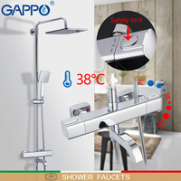 GAPPO shower faucets bathroom shower set wall mounted thermostatic bath shower waterfall shower heads chrome mixer water tap