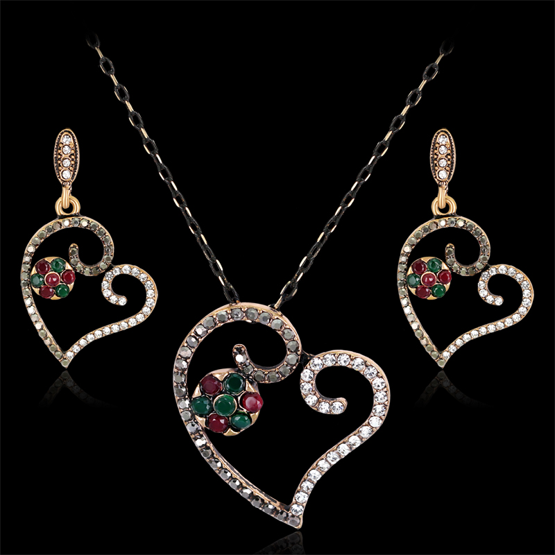 2017 African Beads Jewelry Set Danbihuabi Turkish Jewelry Sets Necklace & Earri Antique Heart Brincos Crystal Aros Schmuck  1