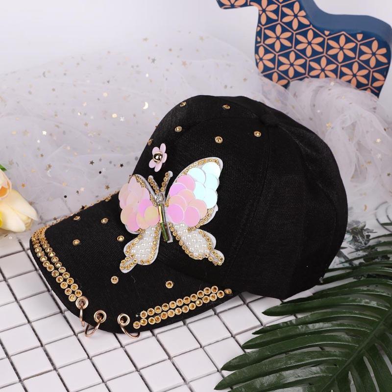 Baseball-kappen Bekleidung Zubehör Pflichtbewusst Glänzende Frauen Hysterese Kappen Mädchen Schmetterling Baseball Hüte Modische Pailletten Perlen Sonnenhut Kappe Mit Ringe