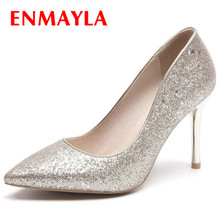 ENMAYLA Glitter Shoes Women Slip-on Sequined Ladies Wedding Spring Autumn Pumps Large Size 34-47 Pointed Toe Thin Heel Pumps недорого