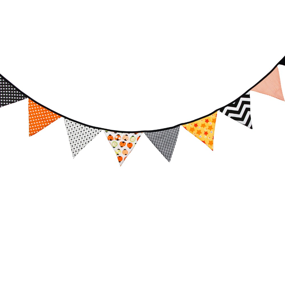aliexpresscom buy 12flags 32m fabric banner pennant happy halloween decorative flags banner decor birthday party supplies for kids from reliable - Decorative Flags