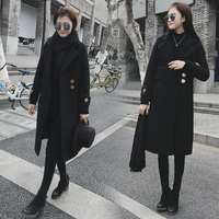 2019 New Brand Runway Women Winter Wool Coats Top Quality Fashion Jackets Solid Double Breasted Black Long Slim Wool Coats A1644