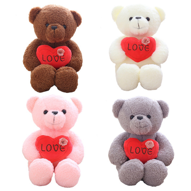 40cm Kawaii Pudding Bear Plush Toys Stuffed Down Cotton Teddy Bear with Heart Doll Lovely Gift for Girls Kids Valentine's Gift fancytrader biggest in the world pluch bear toys real jumbo 134 340cm huge giant plush stuffed bear 2 sizes ft90451