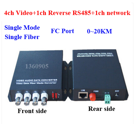 4V1D1E CCTV System video data Ethernet optical Fiber Media Converter 4ch Video + 1ch RS485 data +1ch 10/100M Ethernet 20KM FC rs232 to rs485 converter with optical isolation passive interface protection