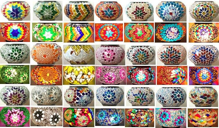 Lámpara echa a mano con mosaicos de cristal colores