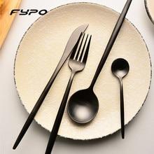 4Pcs Black Flatware High Quality Cutlery Set Stainless Steel Tableware Sets Fork Steak Knife For Home Hotel Dinnerware Set