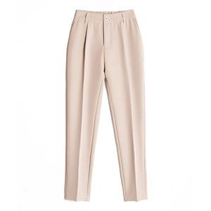 Image 4 - Pantalones harén informales para mujer, pantalón holgado hasta el tobillo, clásico, con cintura elástica, color negro, Camel y Beige, para primavera y verano