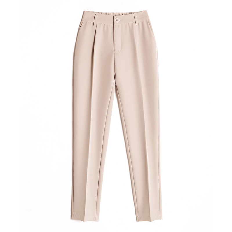 Image 4 - Women's Casual Harem pants Spring Summer Fashion Loose Ankle length Trousers Female Classic High Elastic Waist Black Camel Beige-in Pants & Capris from Women's Clothing