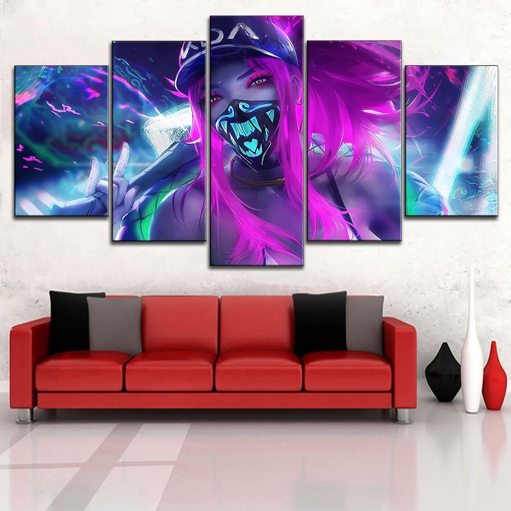 Framed Game Kda Akali Mask Neon League Of Legends Poster Home