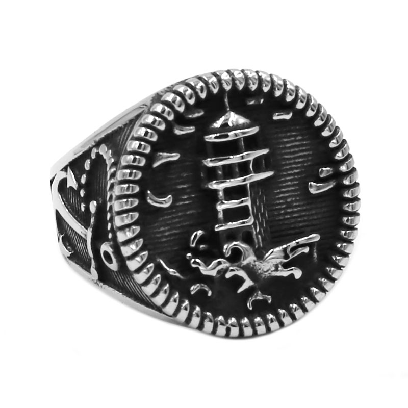 Wholesale Anchor Lighthouse Biker Ring Stainless Steel Jewelry Classic Vintage Beacon Motor Biker Ring For Men SWR0748