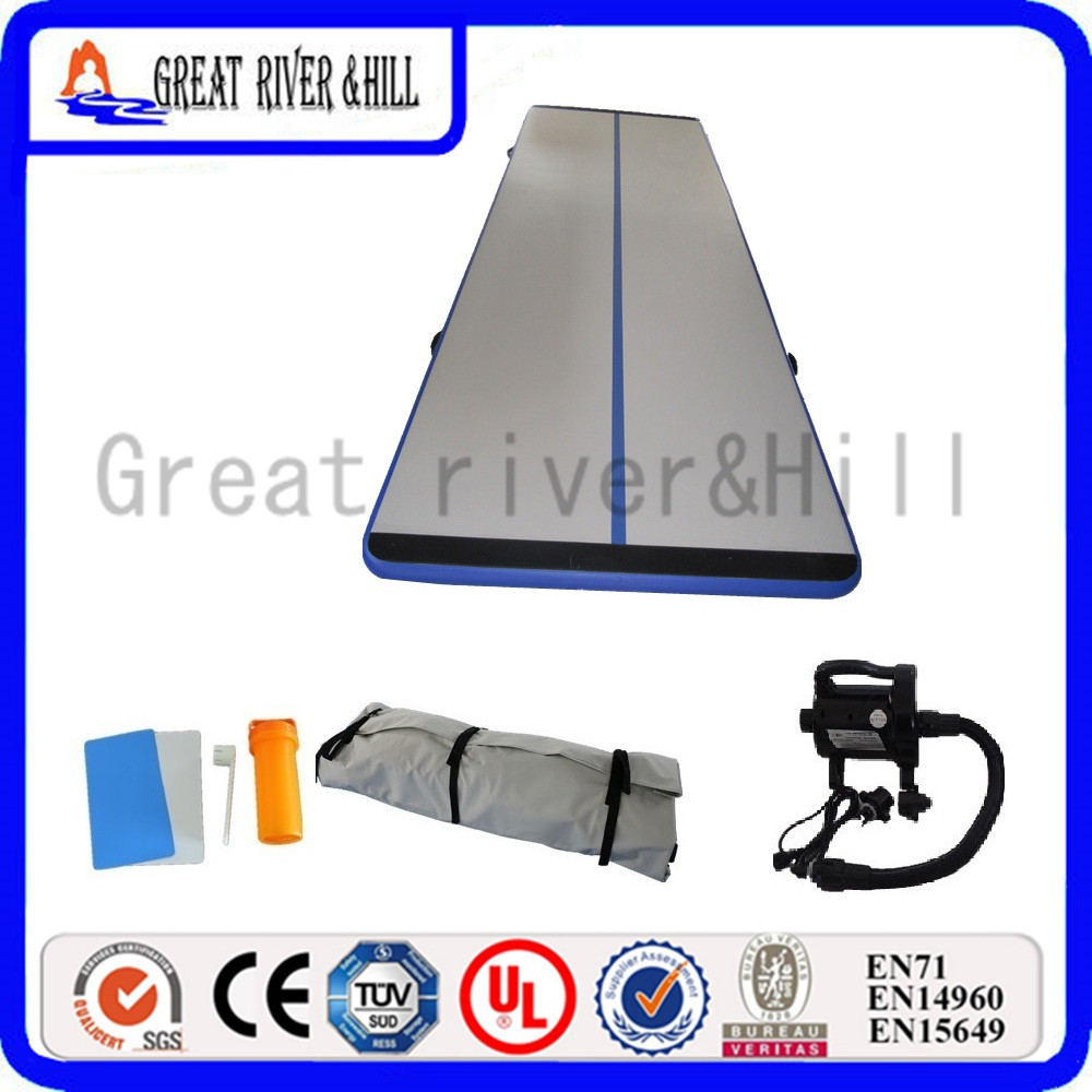 Great river hill training gymnastic mat inflatable air track durable mat for kids grey&blue 4m x 1.8m x 15cm