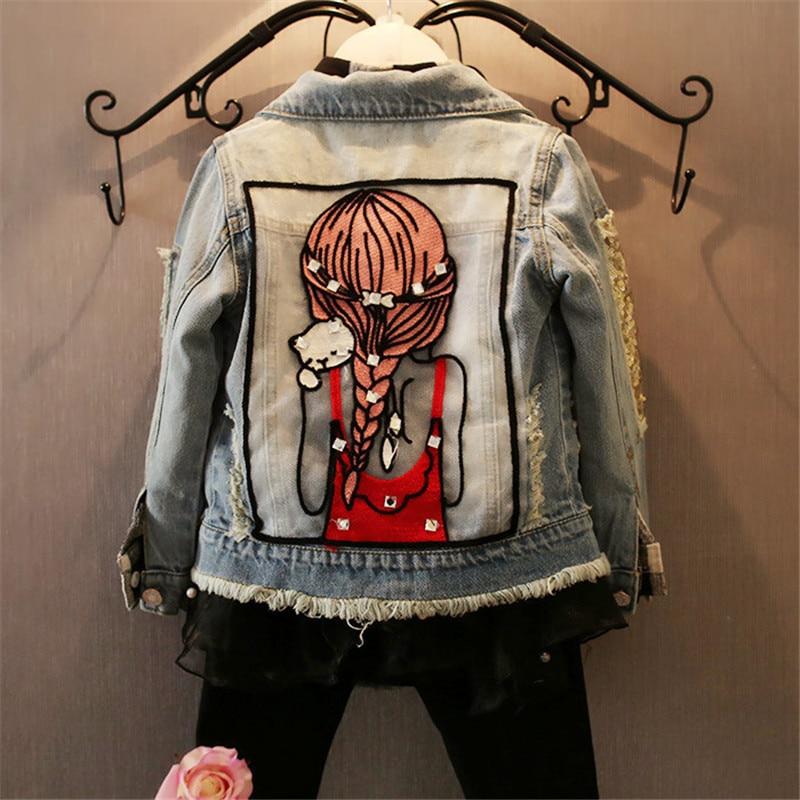 Children Girls Jackets Cool Kid Long Sleeves Turn-down Collar Buttons Coats Pocket Girl Pattern Denim Outerwear Kids Clothes Hot
