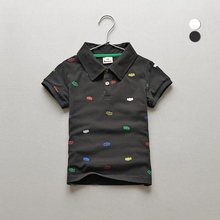 Children's Summer Wear Boy's Pure Cotton Short Sleeve Lapel Korean Leisure Polo Shirt Kids Clothing Grey White