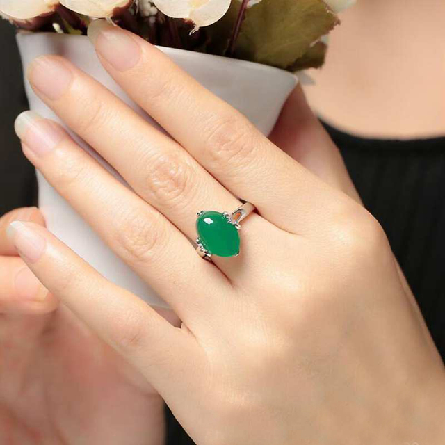 Ruifan Natural Stones Emerald Green Chalcedony Gemstone Engagement 925 Silver Rings Accessories Women Valentine's Day YRI119