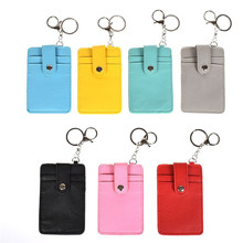 High Quality 3 Layer PU Leather ID Card Holder Card Practical Pocket Case Badge With Keychain Key Ring Free Shipping uv ink printed barcode card and plastic member key card 3 part supply