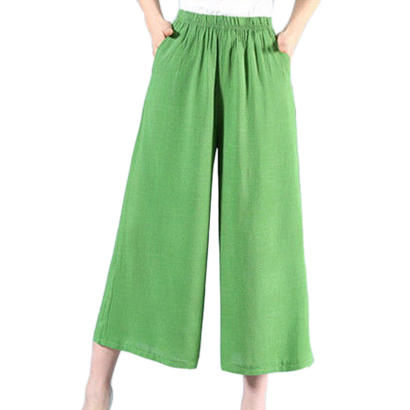 Summer trousers cotton and linen casual   wide     leg     pants   large size loose nine points thin section cool solid color elastic waist
